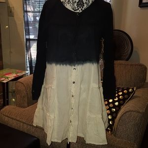 TUNIC DRESS Top Ombre' Size S LS Navy White NEW